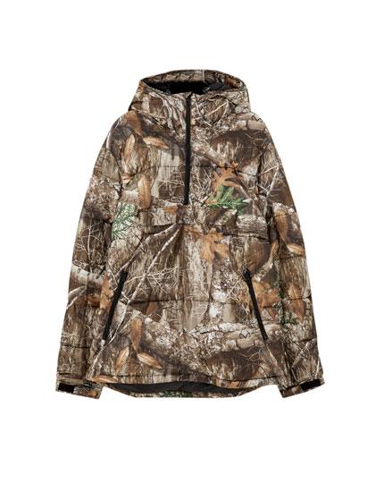 Leaf print puffer jacket