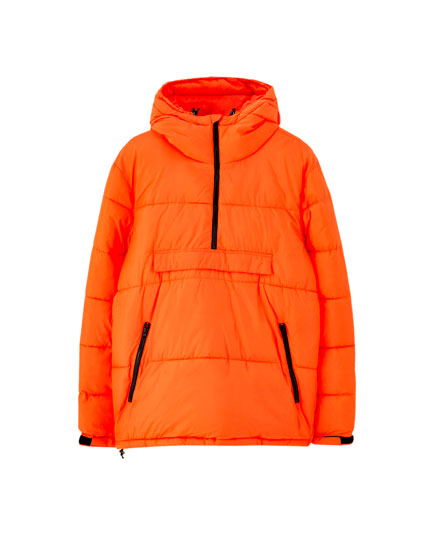 Orange puffer jacket with pouch pocket