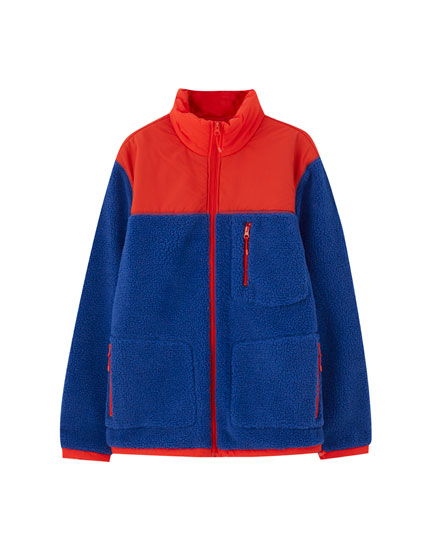 Colour block faux shearling jacket