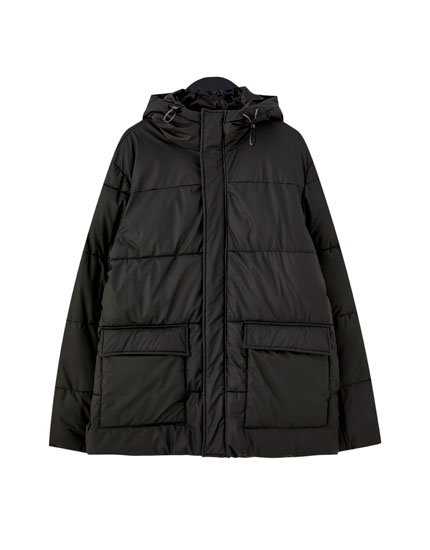 Rubberised puffer jacket