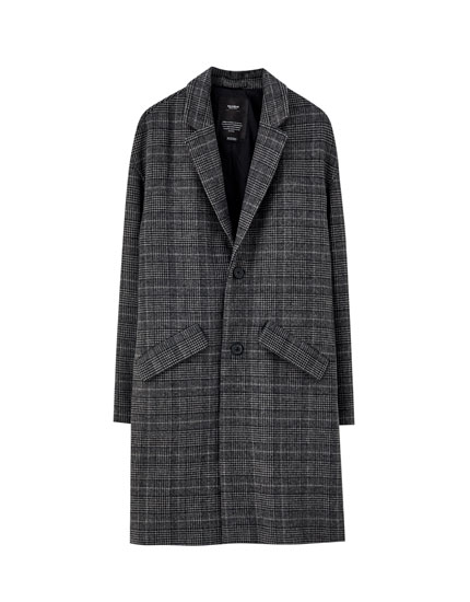 Grey wool blend check print coat
