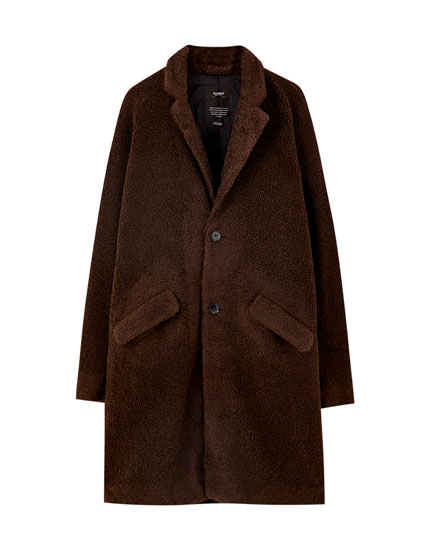 Classic-cut faux shearling coat