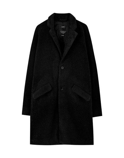 Κλασικό παλτό από συνθετική γούνα προβάτου