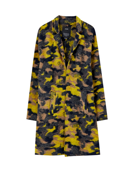 Wool blend camouflage print coat