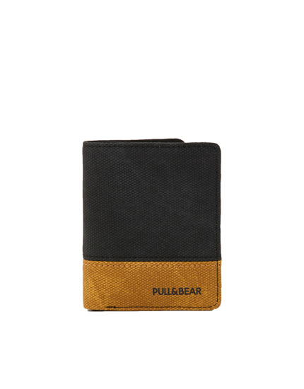 Black colour block wallet