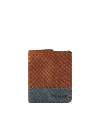 Brown colour block wallet