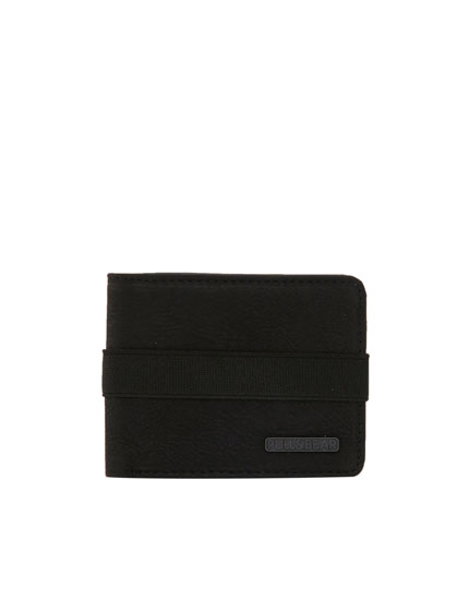 Black wallet with elastic strap