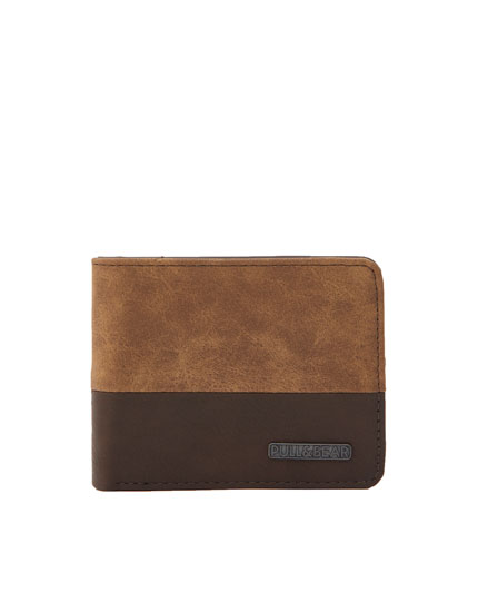 Two-toned faux suede wallet