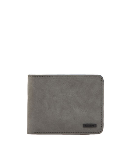 Grey faux suede wallet