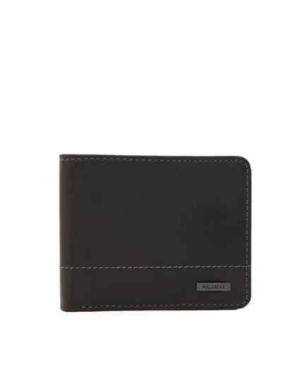 Contrast seam wallet with coin pocket