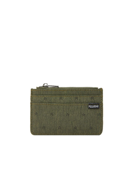 Khaki printed zipped card holder