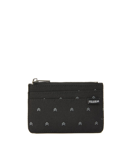 Black printed zipped card holder