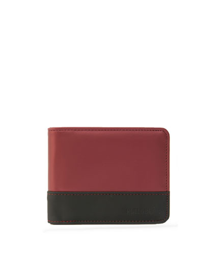 Metallic red colour block wallet