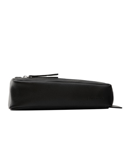 Black faux leather pencil case