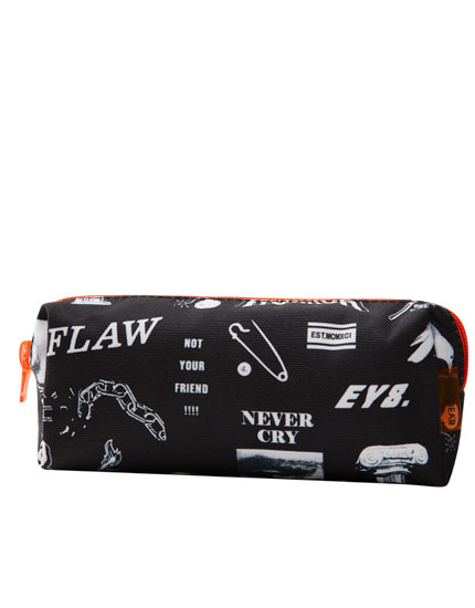 Black pencil case with slogan print