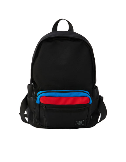 Colour block belt bag-style backpack