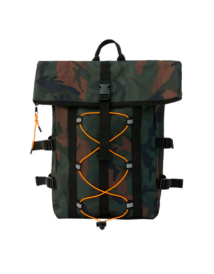 Camouflage bungee cord backpack
