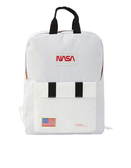 White NASA backpack with flag