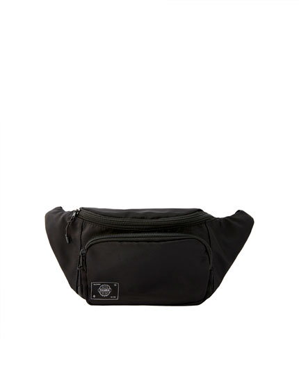 Black double-pocket belt bag