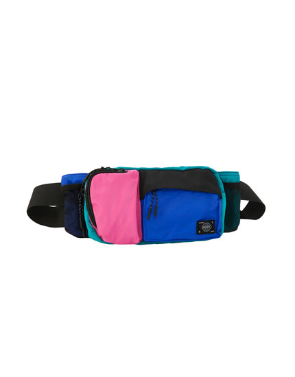 Colour block belt bag with multiple pockets
