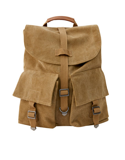 Khaki military backpack