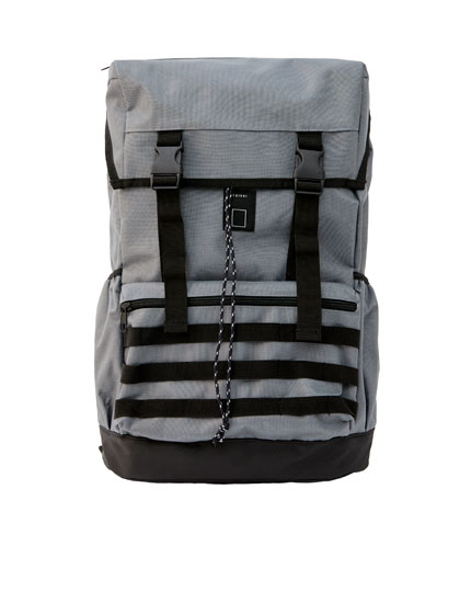 Grey strappy backpack