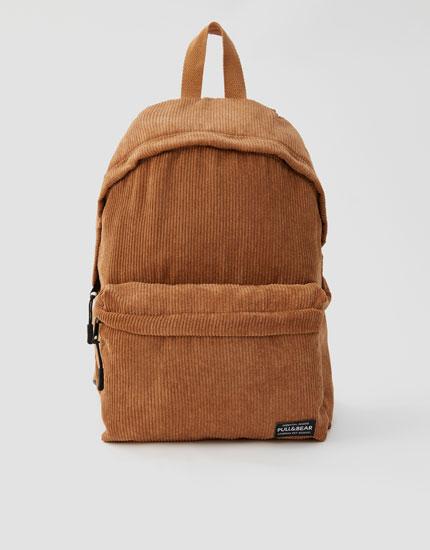 Brown corduroy backpack