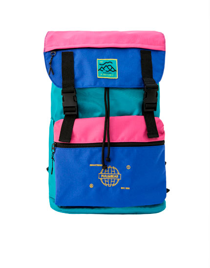 Contrast colour block backpack