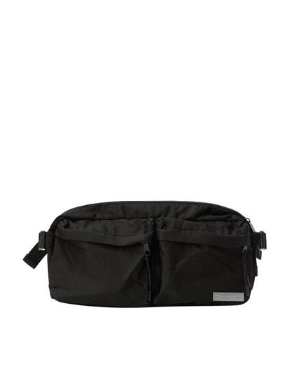 Μαύρο τσαντάκι μέσης με τσέπες