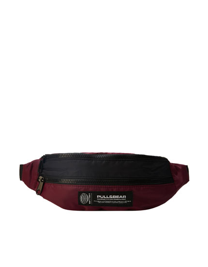 Maroon nylon belt bag