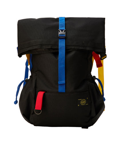 Black backpack with contrasting ribbons