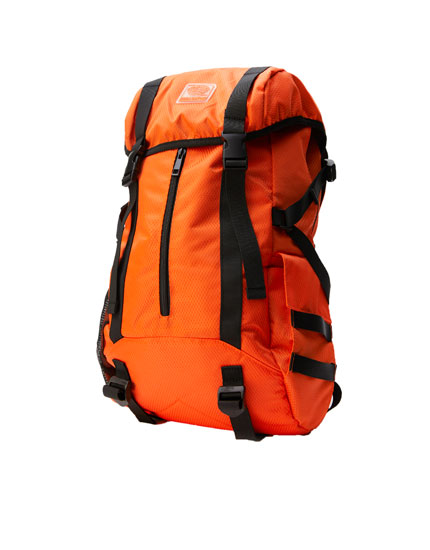 Orange hiking backpack
