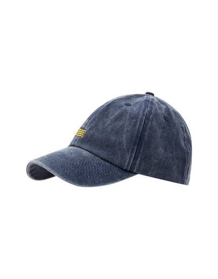 Washed navy basic cap