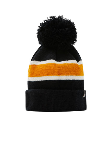 Striped hat with pompom