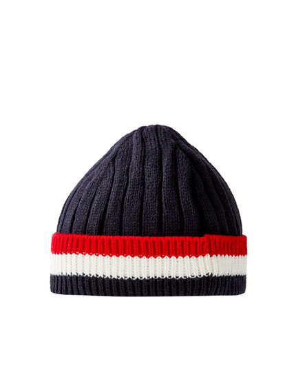 Beanie with contrast stripes