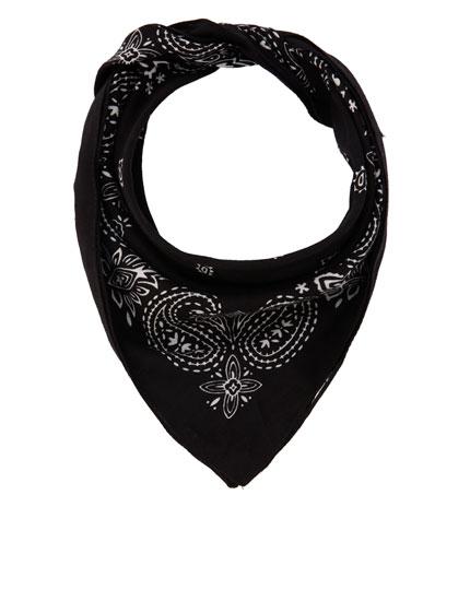 Black printed bandanna