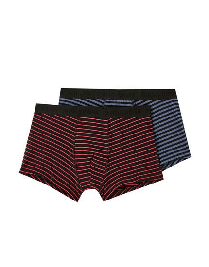 Pakke med 2 par melerede, stribede boxershorts