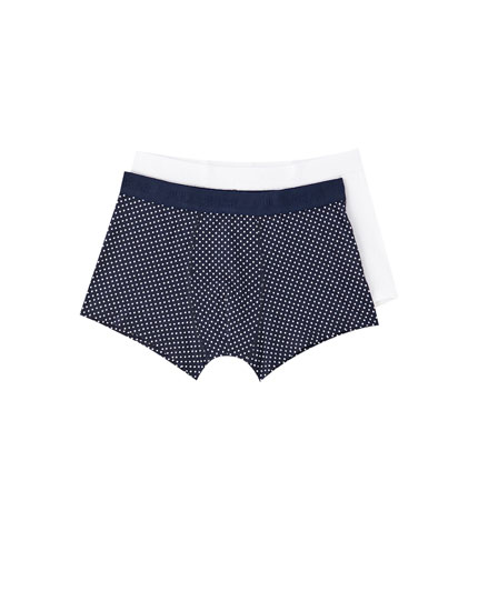 Pack of 2 white and polka dot boxers