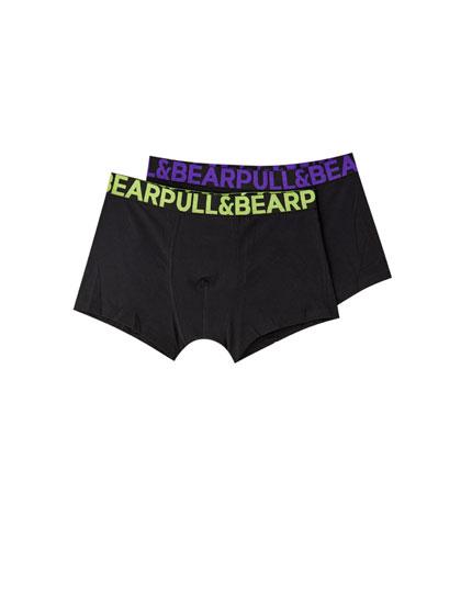Pakke med 2 par boxershorts med neonfarvet linning