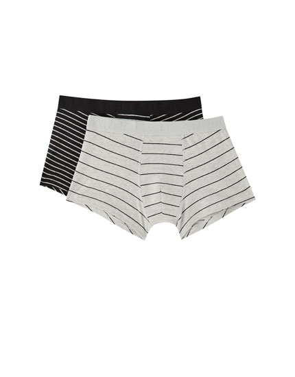 Pack of 2 pairs of melange striped boxers