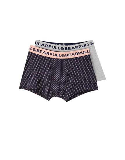 Pack of 2 grey and printed boxers