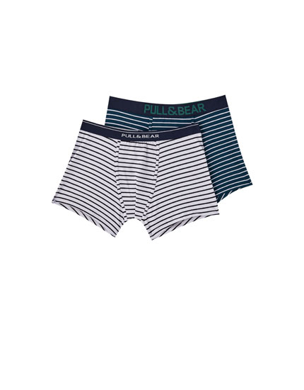 Two-pack of thin-striped boxers