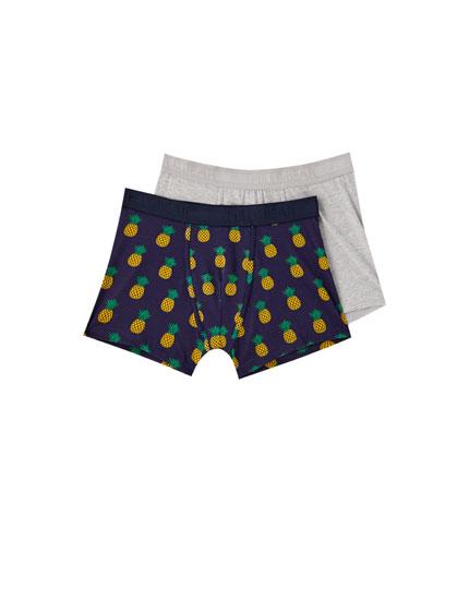 Pakke med to par boxershorts med ananas
