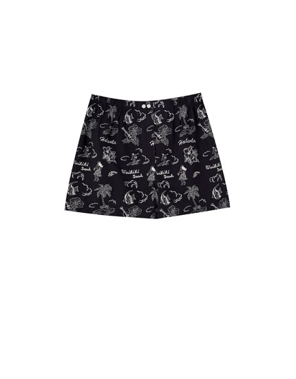 Poplin boxer briefs with Hawaiian floral print motifs