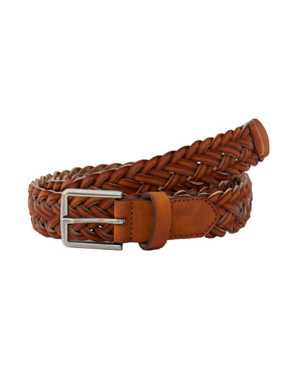 Brown faux leather braided belt