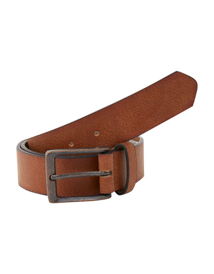 Aged brown faux leather belt