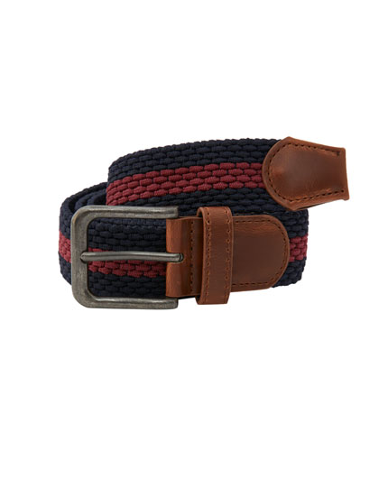 Elastic belt with burgundy stripes