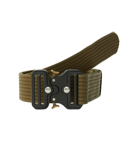 Khaki military buckle belt