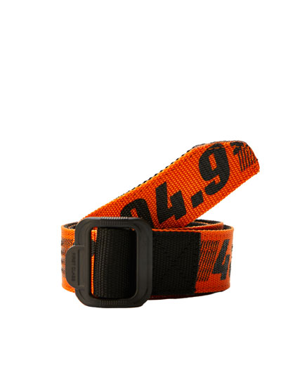 Orange belt with coordinates print