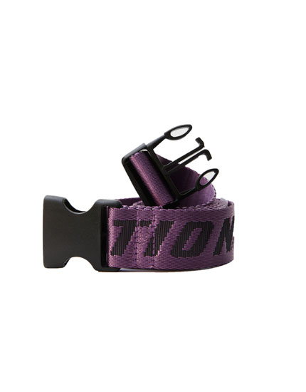 Violet fabric belt with clasp